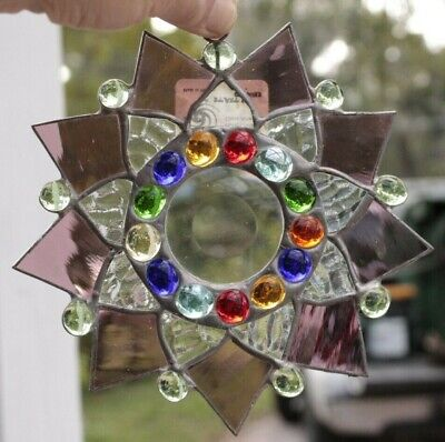 Leaded Stained Glass Round Sun Catcher  Hanging 7''  #11