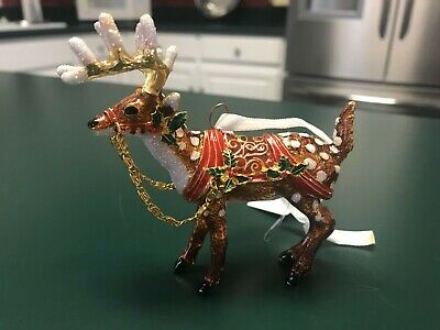 Reindeer Cloisonne Christmas Ornament New 2019 Dillard's Trimsetter New In Box!