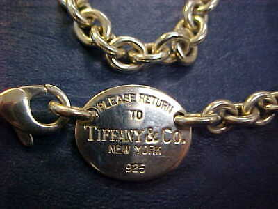 Return to Tiffany & Co. Oval Tag Chain Necklace Choker 925 Sterling Silver