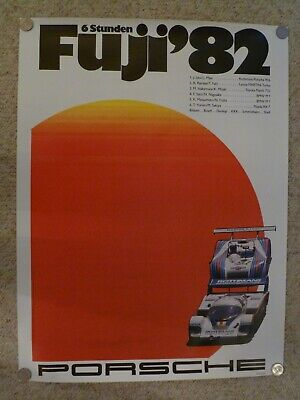 1982 Porsche 956 6 Hours of Fuji Showroom Advertising Sales Poster RARE! Awesome