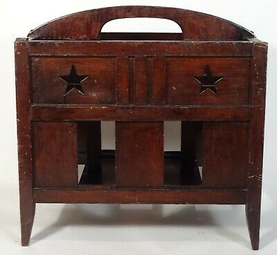 Antique c1900 Pine Magazine Rack w/ Cut-Out Patriotic Stars, Americana, Folk Art