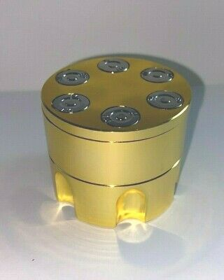 """Gold Aluminum Revolver Bullet Tobacco Spice Herb Mill Grinder 2"""" Tool 3piece NEW"""