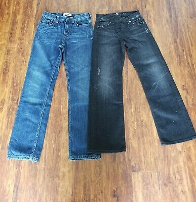 Lot Of 2 Pairs Boys Slim Bootcut 7 For All Mankind Size 8 12