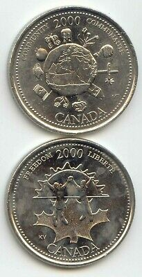 Canada 2000 COMMUNITY & FREEDOM Quarters Canadian 25 Cent Twenty-five Cents 25c
