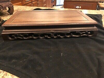 Large Chinese wood carved table display stand