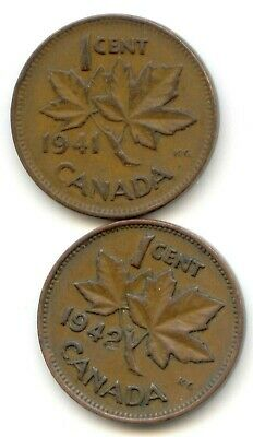 Canada 1941 1942 One Cent Canadian Pennies Penny 1c EXACT SET SHOWN