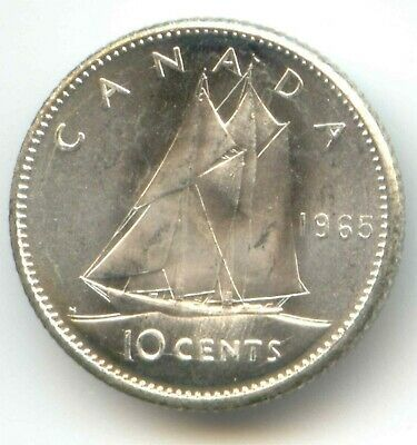 1965 Canada Dime 10c 80/% Silver Uncirculated One