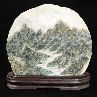 Chinese carved marble plaque of a mountain valley early 20th century