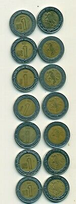 7 BI-METAL 1 PESO COINS from MEXICO (1992, 1993, 1994, 1995, 1996, 1997 & 1998)