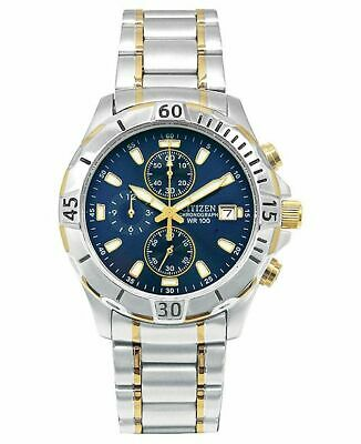 Citizen Chronograph Blue Dial Two Tone Stainless Steel Men's Watch AN3394-59L