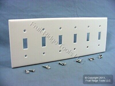 New Leviton White 6-Gang Toggle Light Switch Cover Wall Plate Switchplate 88036