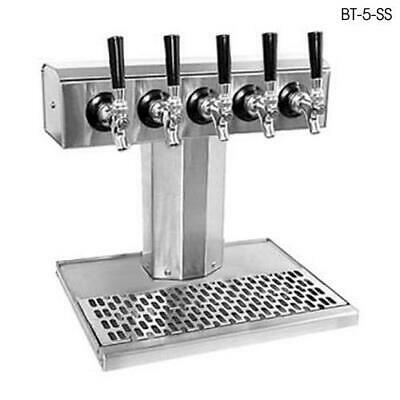 Glastender - BT-5-PBR - 5-Faucet Brass Glycol Tee Tower w/Drain Pan