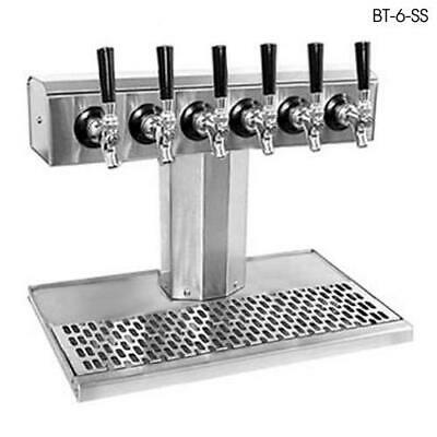 Glastender - BT-6-MFR - 6-Faucet Mirror Finish Glycol Tee Tower w/Drain Pan