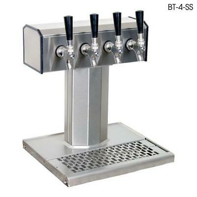 Glastender - BT-4-MFR - 4-Faucet Mirror Finish Glycol Tee Tower w/Drain Pan
