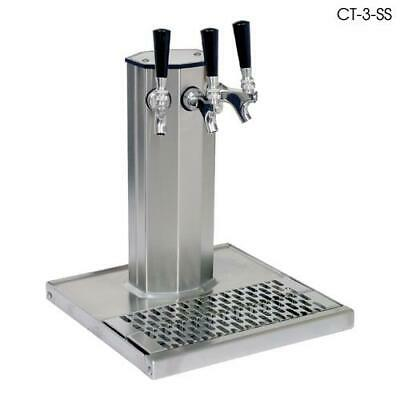 Glastender - CT-3-PBR - 3-Faucet Brass Glycol Column Tower w/Drain Pan