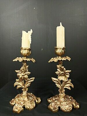 Lovely Dainty Pair of Antique Brass French Single Candelabras Candle Sticks