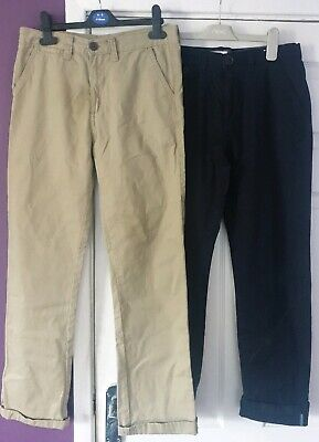 Boys Chinos Trousers Aged 12 x2 Pair Blue Beige