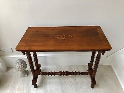 VICTORIAN Antique English Walnut Side/Hall Table - Inlay Detail - Circa 1880