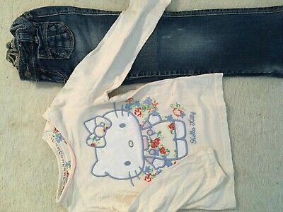 Girls gorgeous top & jeans M&S hello kitty and gap age 5-6