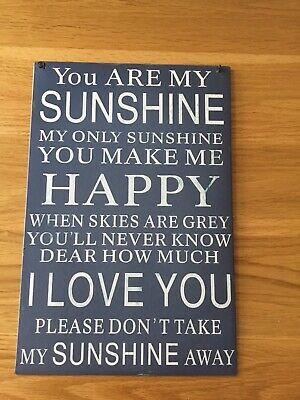 "RETRO METAL WALL SIGN  PLAQUE VINTAGE SHABBY CHIC "" You Are My Sunshine"""