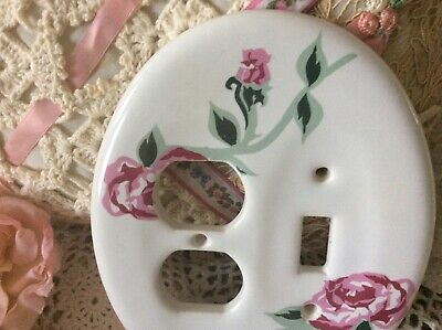 Vintage Oval Porcelain MELARD Combo Light Switch / Outlet Cover, Roses