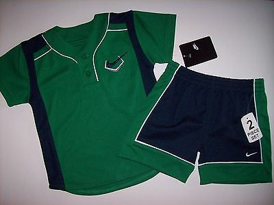 Nike Baby Boys Outfit Set Shirt Top Shorts Size 12 Months Grey Navy Blue Orange