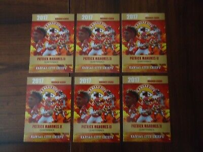 Pat Mahomes 6 Card Lot 2017 NFL Rookie Phenoms Limited Edition to 2000 Made
