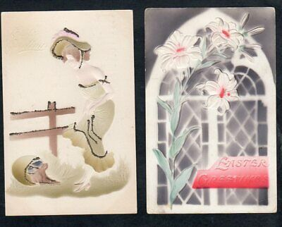 A643  Antique Postcards Easter heavily Embossed beautiful woman rabbit lilies