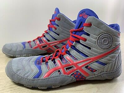 Asics Dan Gable Ultimate Wrestling Shoes Men's Size 9.5 Gray Red Blue EUC Rare