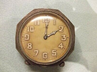 Antique Old  Clock Swiss Made 8 Day Brevet Not Working Clean Inside Silver Plate