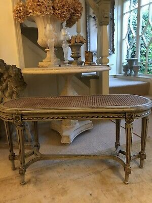 French Painted Cane Bench Stool Decorative Antique