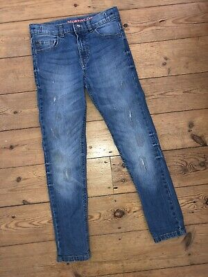 Boys Blue Zoo Skinny Frayed Blue Denim Jeans Age 9 Boys Clothes