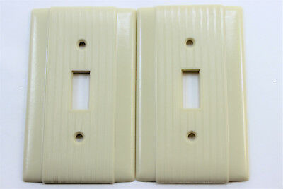 2 Vtg Uniline Ribbed Ivory Bakelite Light Toggle Switch Plate Fine Line Art Deco