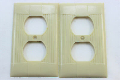 Set 2 Vintage  Eagle Tuxedo Bakelite Ivory Ribbed Outlet Cover Plate Receptacle