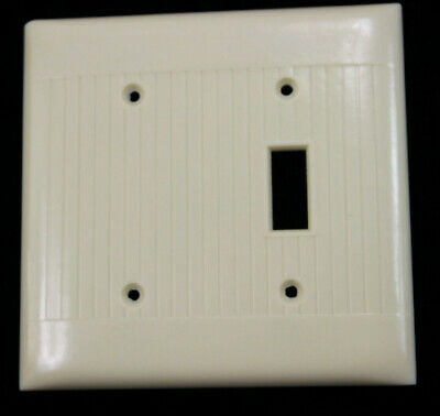 Art Deco Bakelite Ribbed Double Gang with Single Toggle Light Switch and Blank