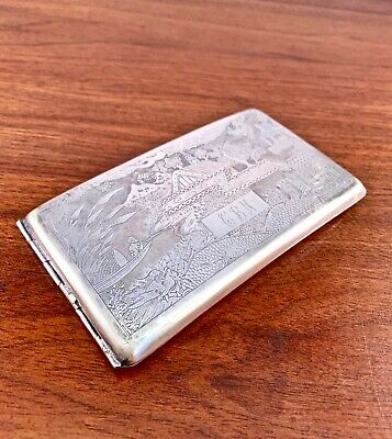 Large Chinese Export Sterling Silver Cigarette Case: Hand Engraved, 1900-40