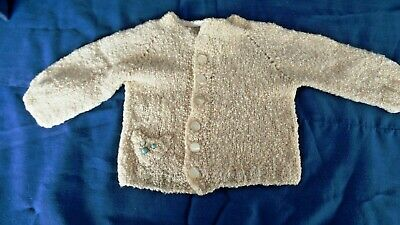 Vintage Handmade Cream Sweater with Teddy Bear pocket Knitted