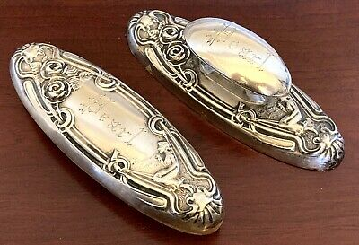F&B LADY IN HAMMOCK~Sterling Silver VANITY NAIL BUFFER NOUVEAU Victorian ANTIQUE