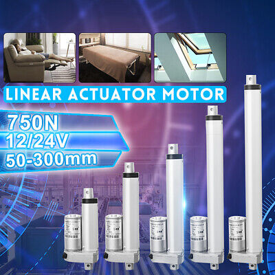 12/24V 200/750N 50-400mm Linear Actuator Motor+2x Mounting Bracket For Auto  AU