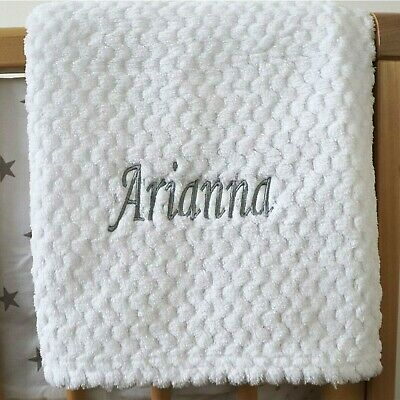 Personalised Baby Waffle Blanket White Soft Newborn Christening Shower Gift
