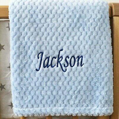 Personalised Baby Waffle Blanket Blue Soft Newborn Christening Shower Gift