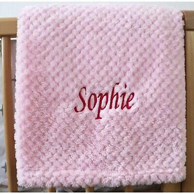 Personalised Baby Waffle Blanket Pink Soft Newborn Christening Shower Gift