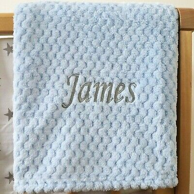 Personalised Baby Waffle Blanket Blue Grey Font Soft Newborn Christening Shower