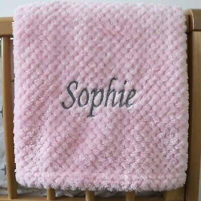Personalised Baby Waffle Blanket Pink Grey Font Soft Newborn Christening Shower