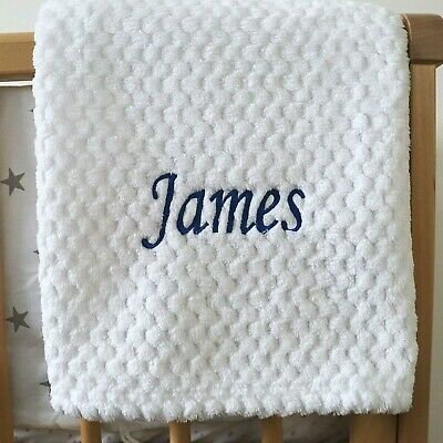 Personalised Baby Waffle Blanket White Blue Font Soft Newborn Christening Shower