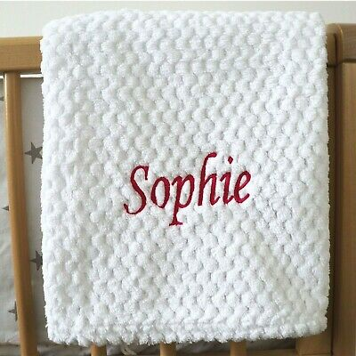 Personalised Baby Waffle Blanket White Pink Font Soft Newborn Christening Shower