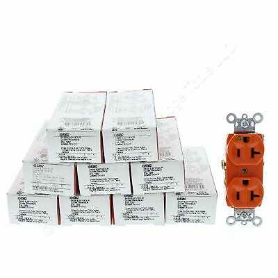 10 P&S Orange Isolated Ground Duplex Outlet Receptacles 5-20R 20A 125V IG5362