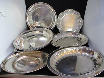 x6 MISC SILVERPLATE EPNS PLATTERS & DISHES, PLATES BULK