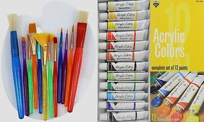 12pc Acrylic Paint Set with Big Kids Brush Set and Palette