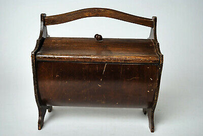 Antique sewing wood box with handle double lid bobbin shelf Victorian storage